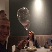 Dessert at Alinea (taffy balloon)